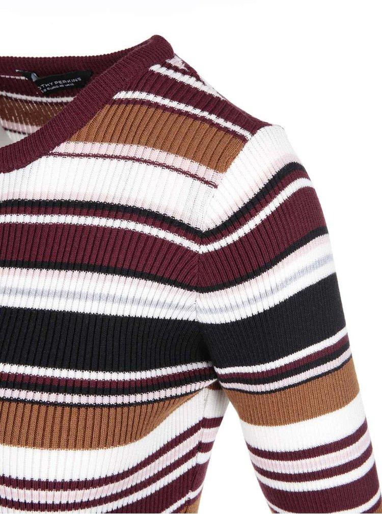 Černo-bílo-hnědé pruhované pletené minišaty Dorothy Perkins