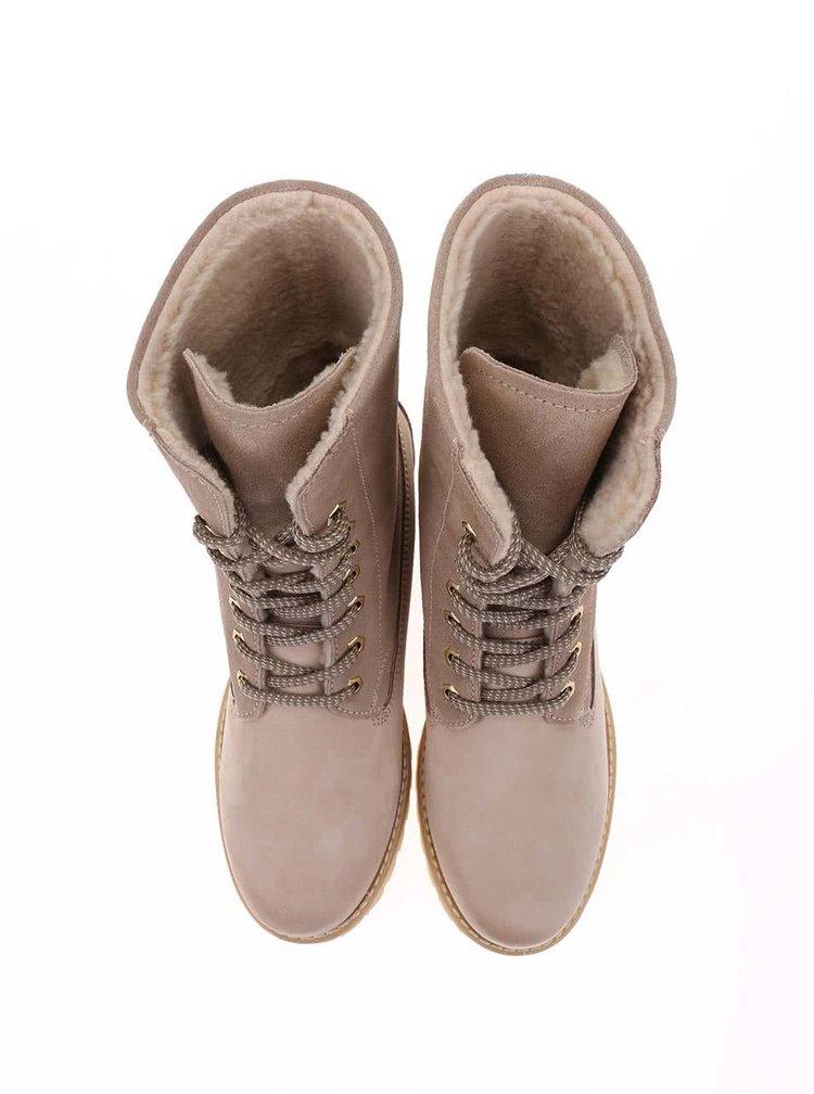 Béžové zimní kožené boty s kožíškem Tamaris
