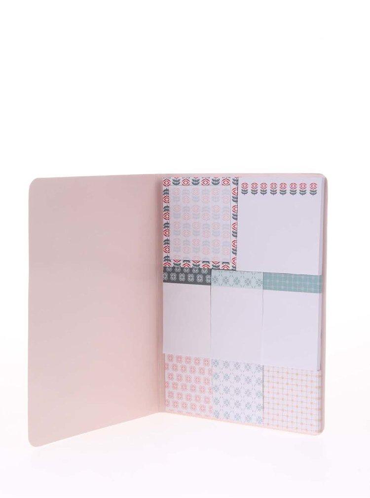 Blocnotes adeziv roz cu imprimeu Helio Ferretti
