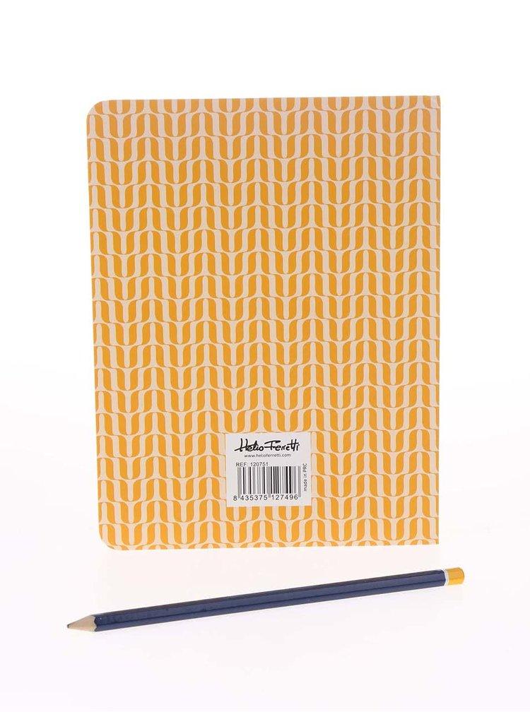 Žltý vzorovaný organizér s lepiacimi lístočkami Helio Ferretti
