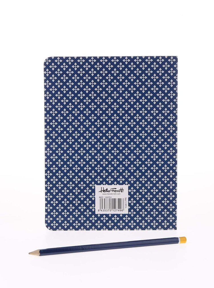Blocnotes adeziv albastru cu imprimeu Helio Ferretti
