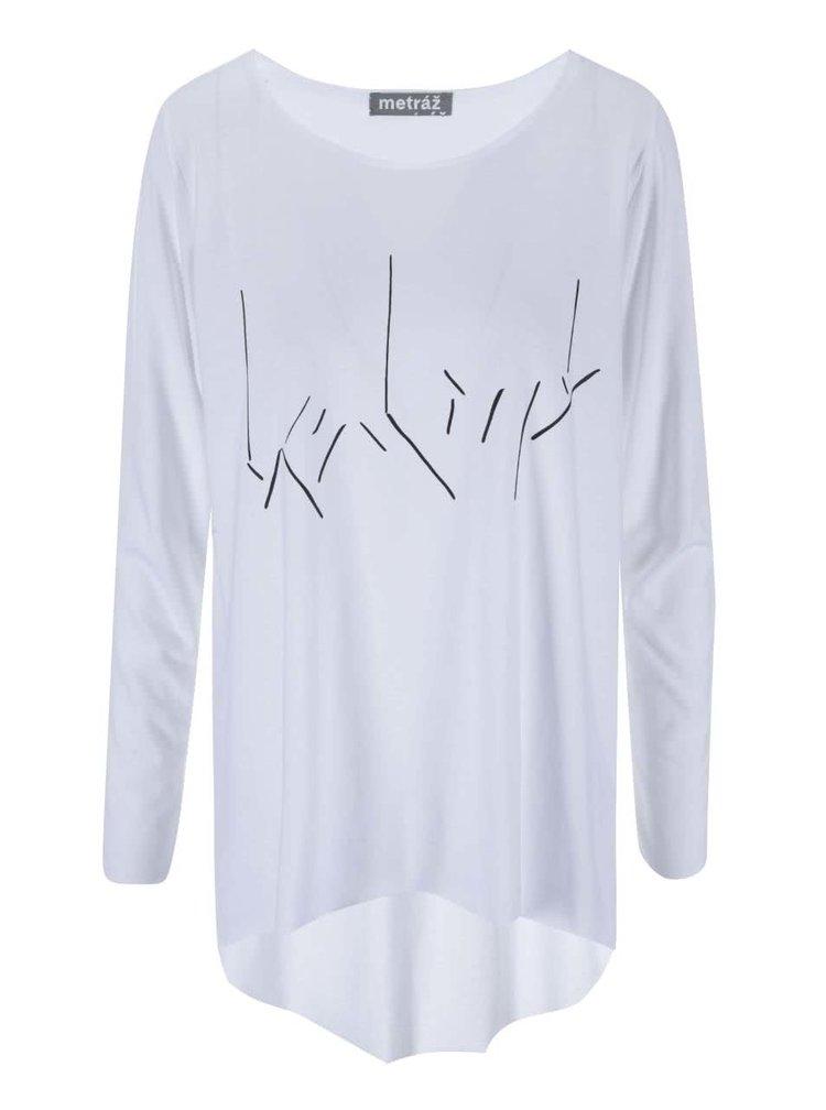 """""""Dobré"""" bílé dámské oversize tričko Metráž"""