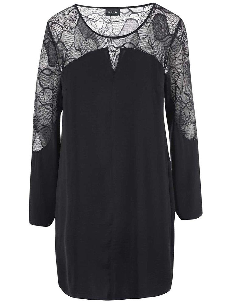 Černé šaty s krajkou VILA Mella
