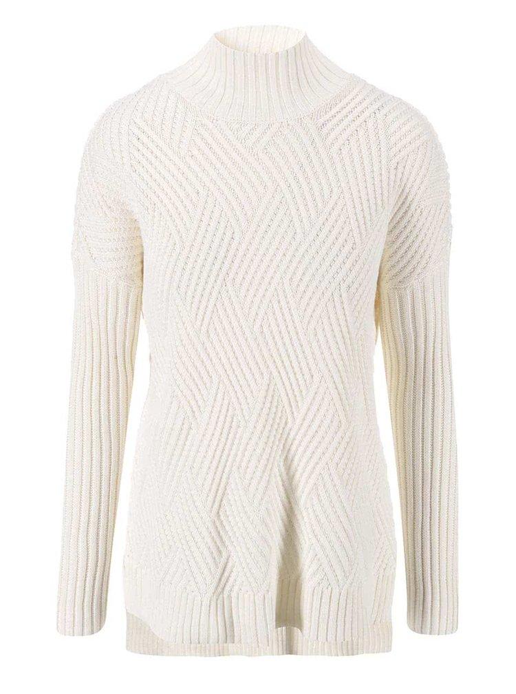 Krémový dlhší sveter VILA Cosy