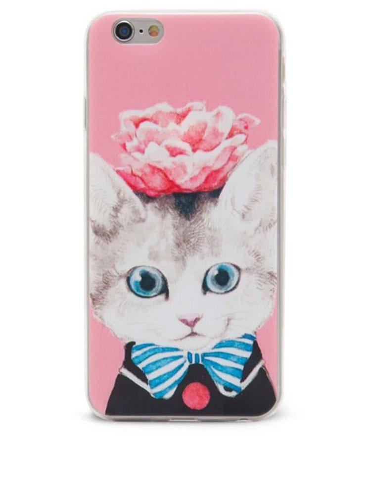 Růžový ochranný kryt na iPhone 6/6s Epico Cat & Roses