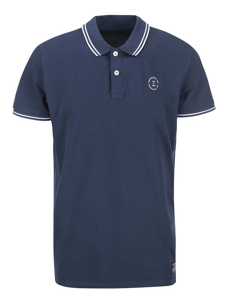 Tricou polo albastru de la Jack & Jones