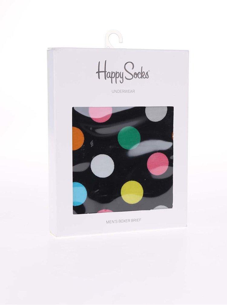 Čierne trenírky s farebnými bodkami Happy Socks Big Dots