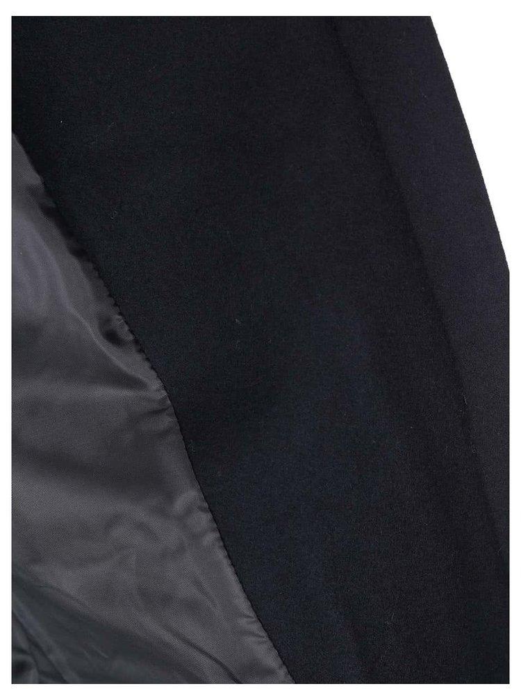 Tmavě modrý vlněný kabát s kožíškem ONLY Jenny