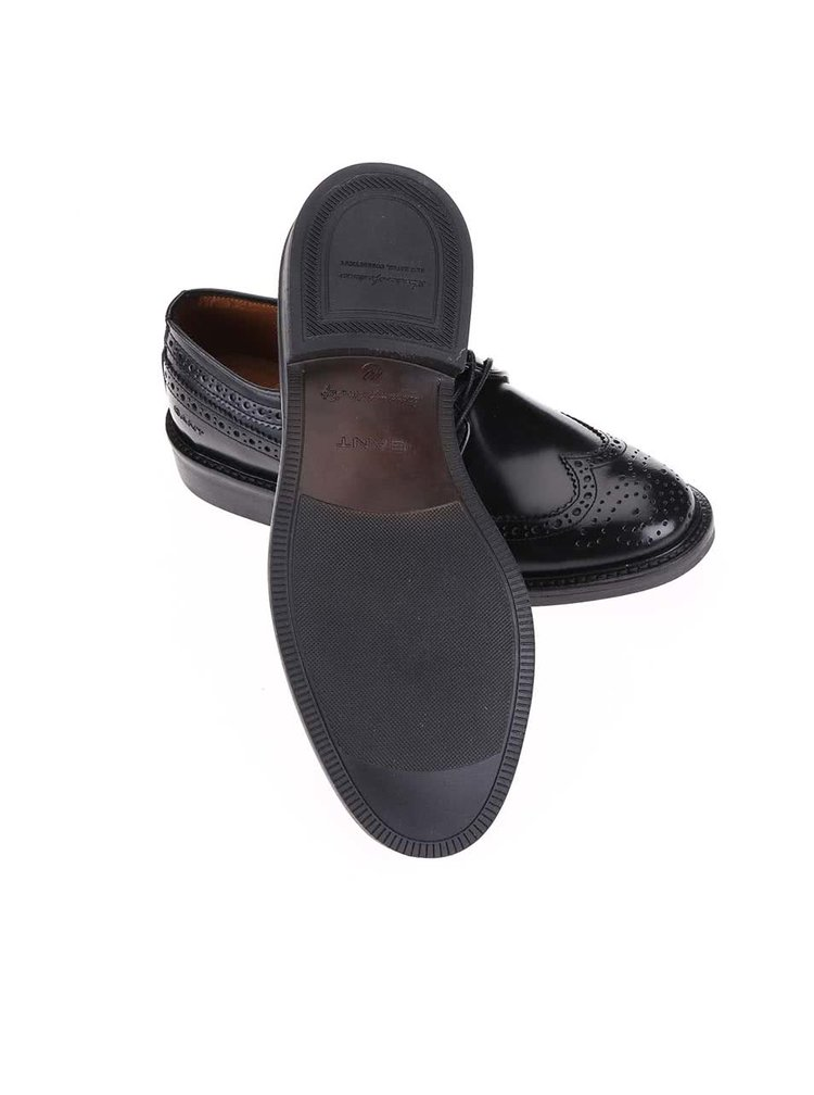 Černé pánské kožené polobotky s výraznými švy Gant Albert