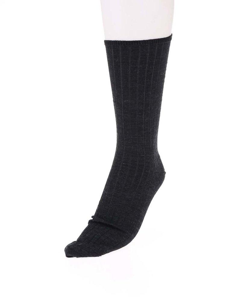 Čierne žíhané vlnené ponožky Claudio