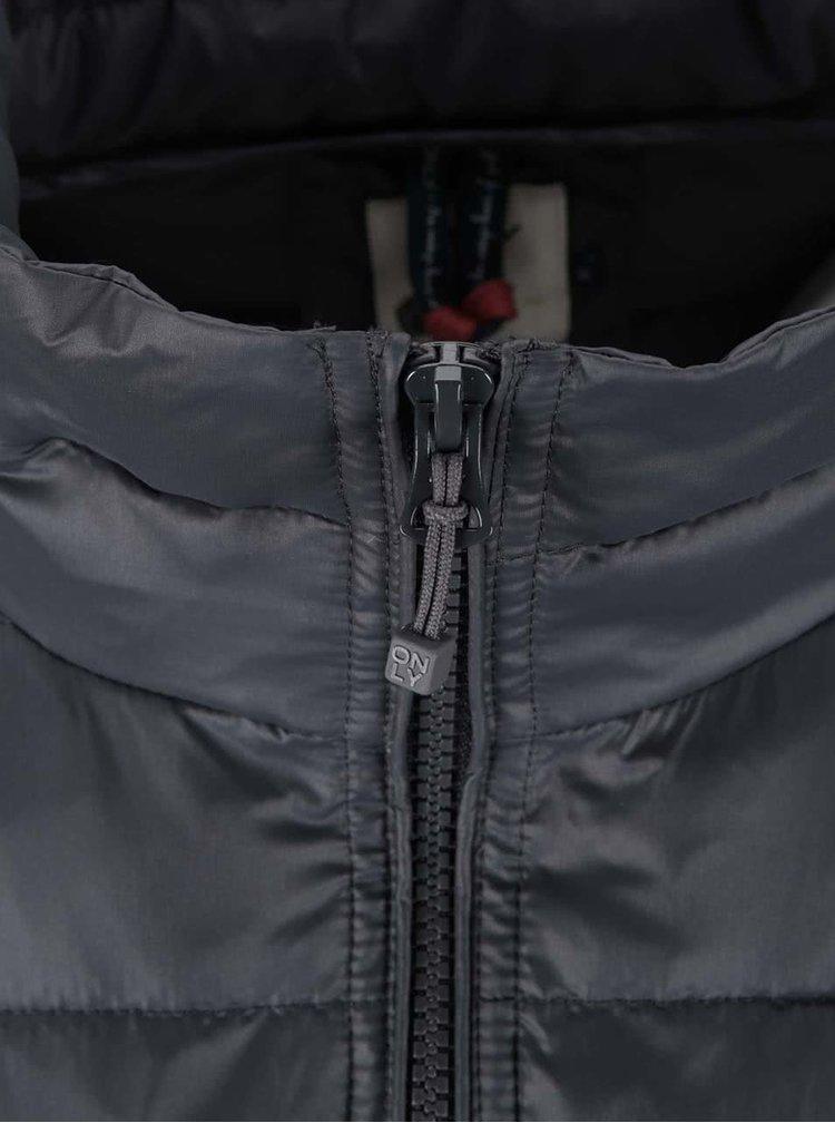 Tmavě šedá prošívaná bunda ONLY Tahoe