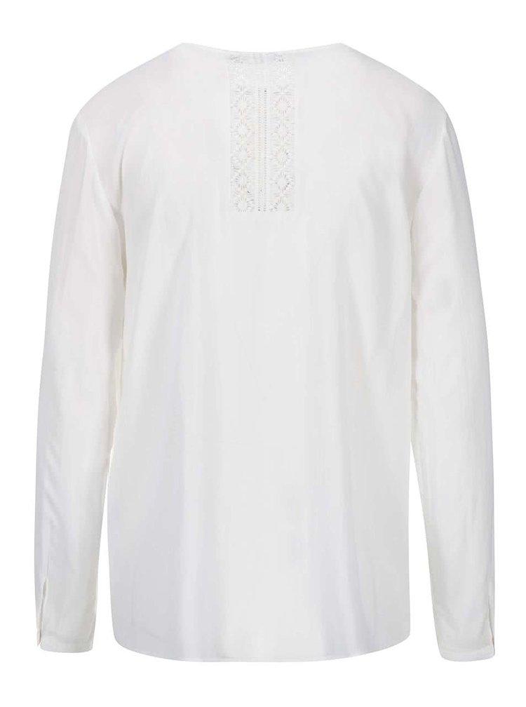 Bluză albă cu decolteu decorativ ONLY Tia