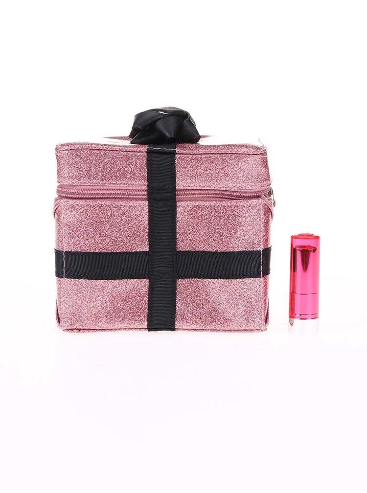 Ružová kozmetická trblietavá taštička Disaster Pompom Tutti