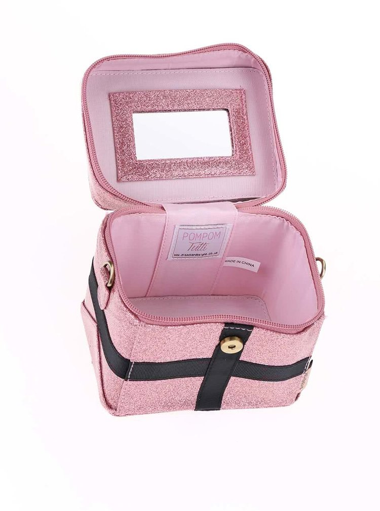 Růžová kosmetická třpytivá taštička Disaster Pompom Tutti