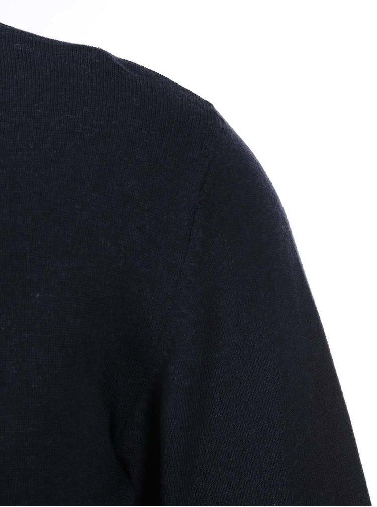 Bluza cu guler in V, bleumarin, de la Shine Original