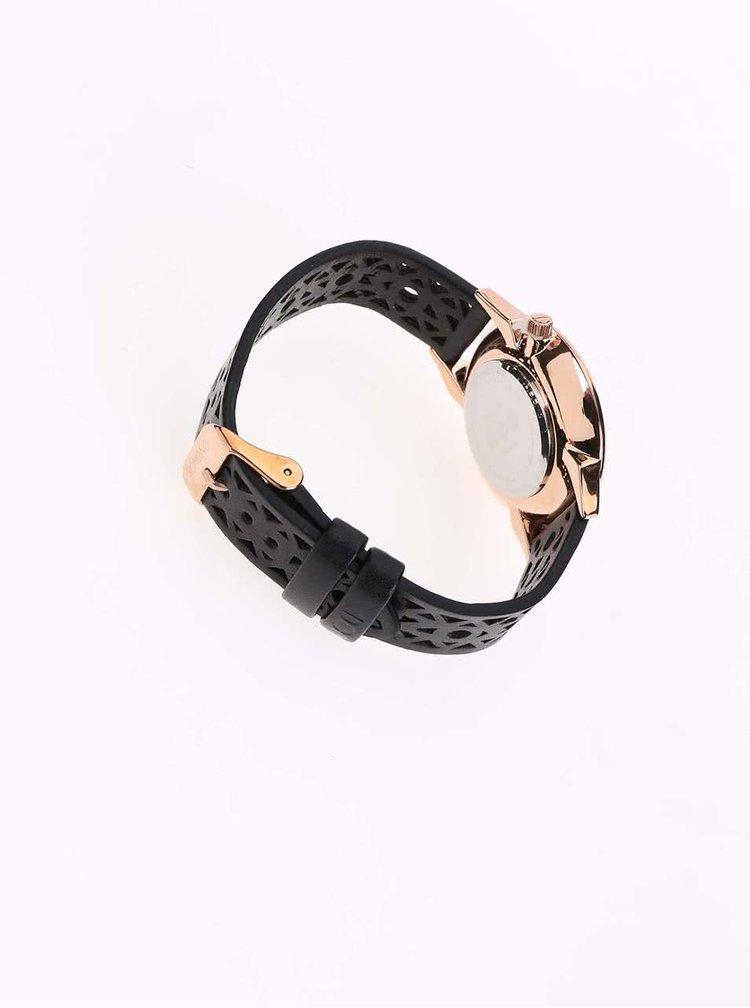 Dámske hodinky s černým koženým perforovaným remienom Komono Estelle Cutout