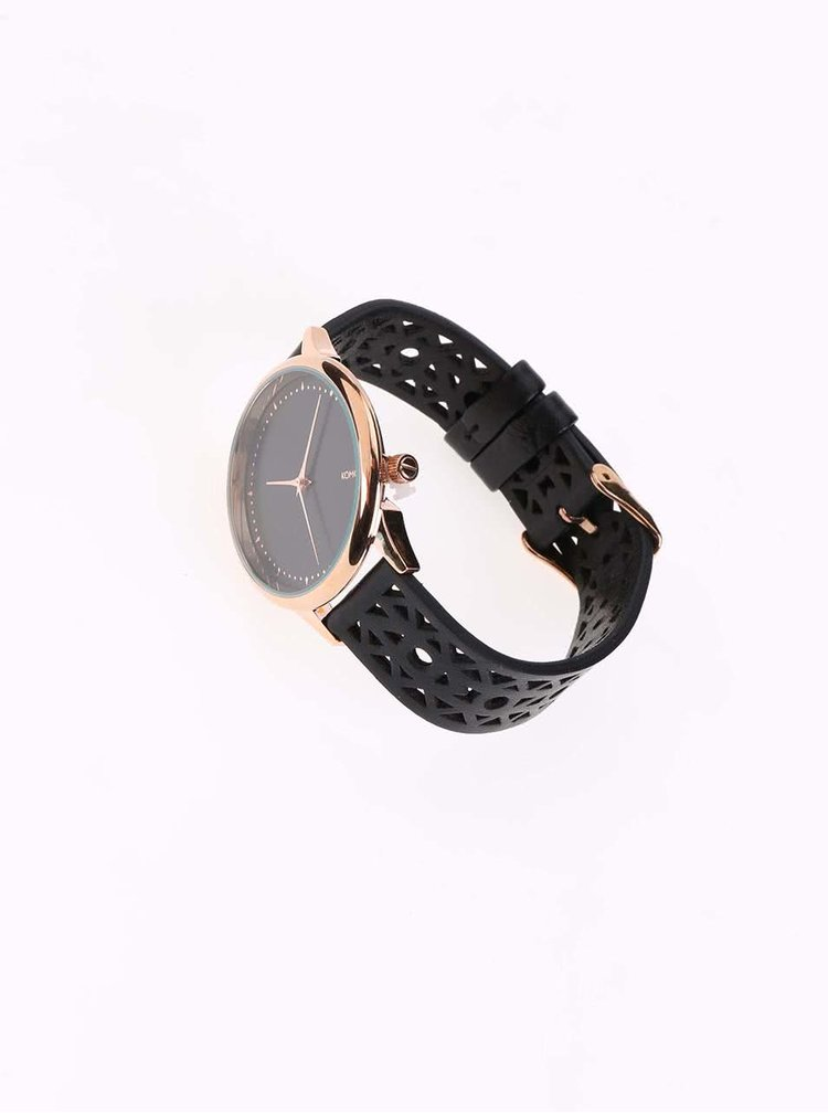 Čierne dámske hodinky s koženým perforovaným remienom Komono Estelle Cutout