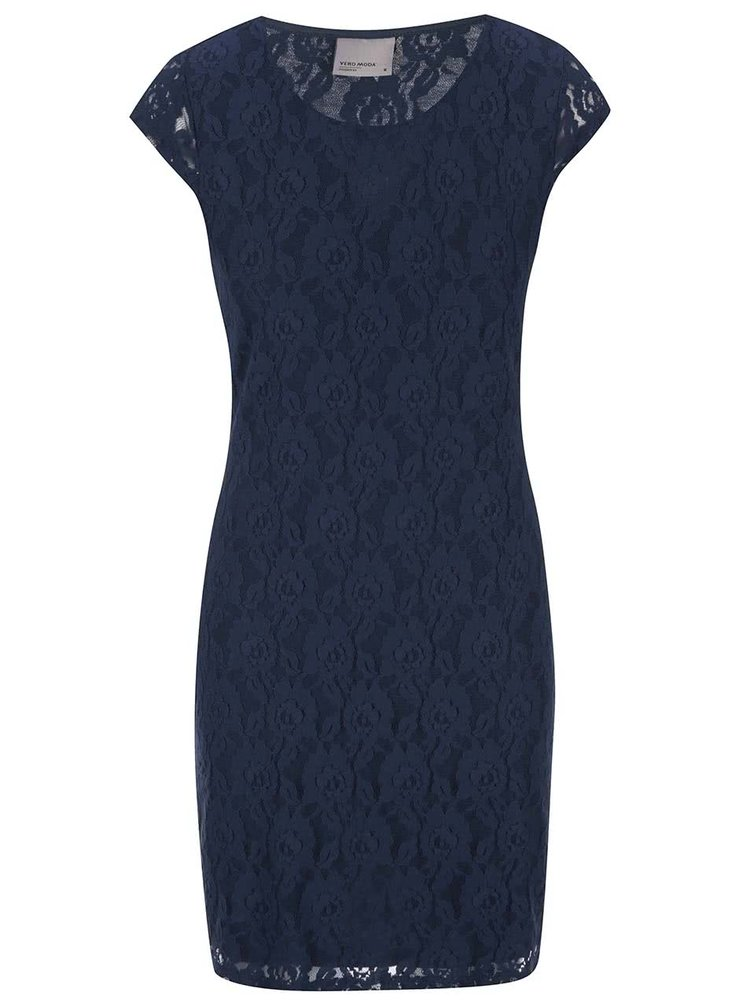 Modré krajkové šaty VERO MODA Lilly