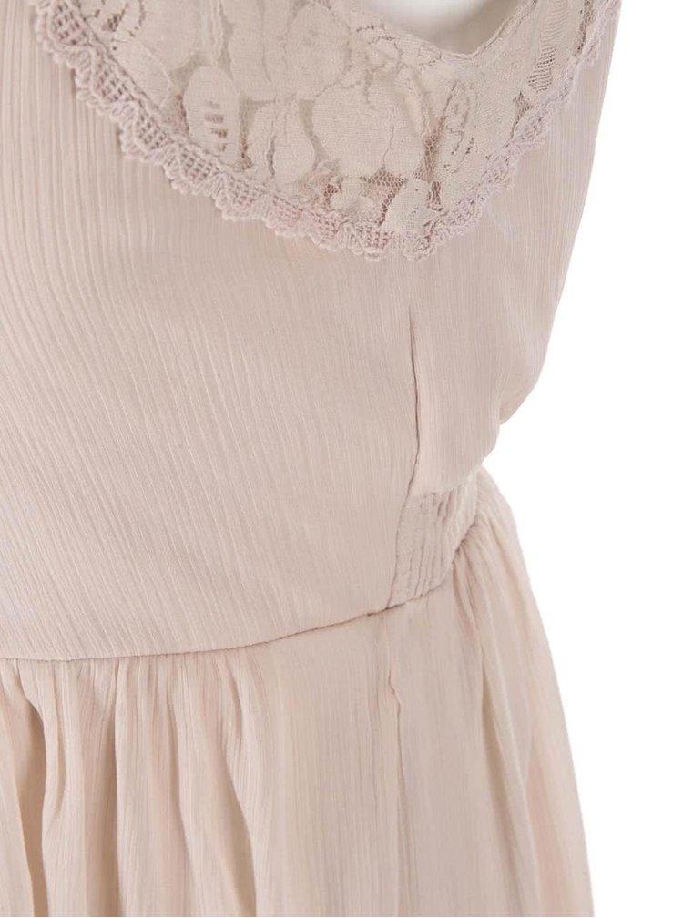Pudrově růžové šaty s krajkou VERO MODA Freja