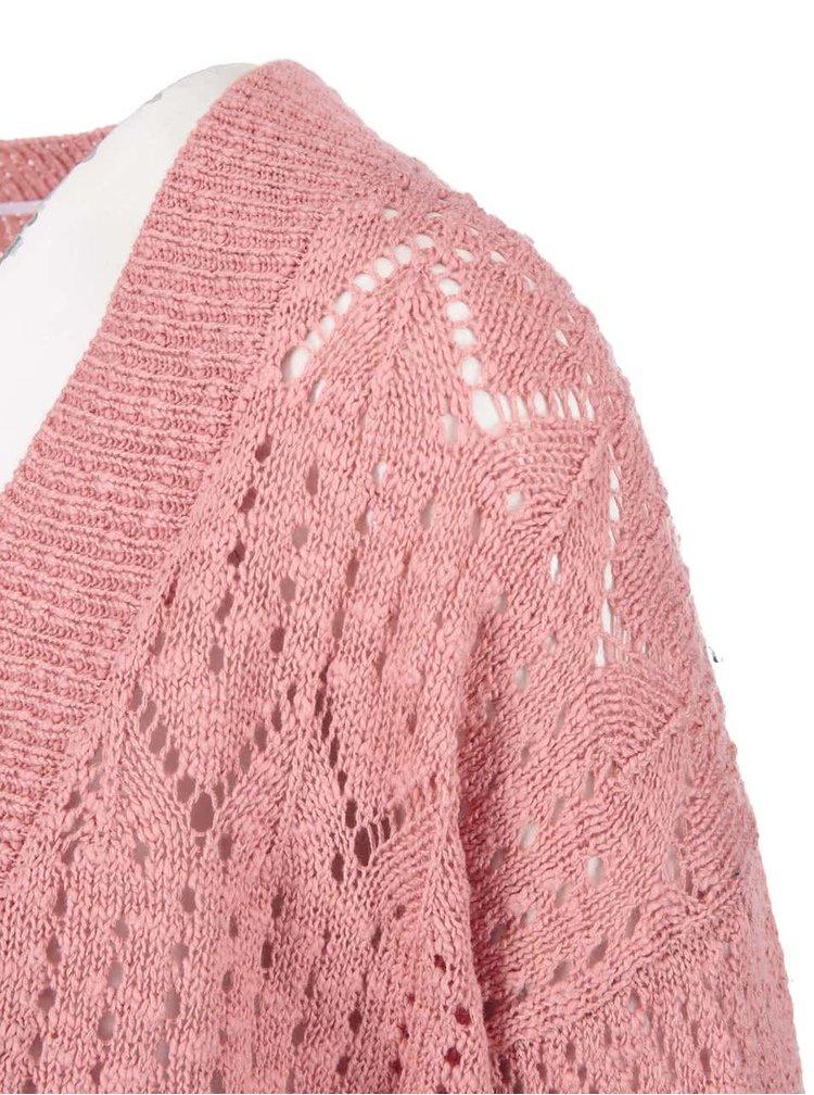 Růžový tříčtvrteční kadrigan VERO MODA Mally