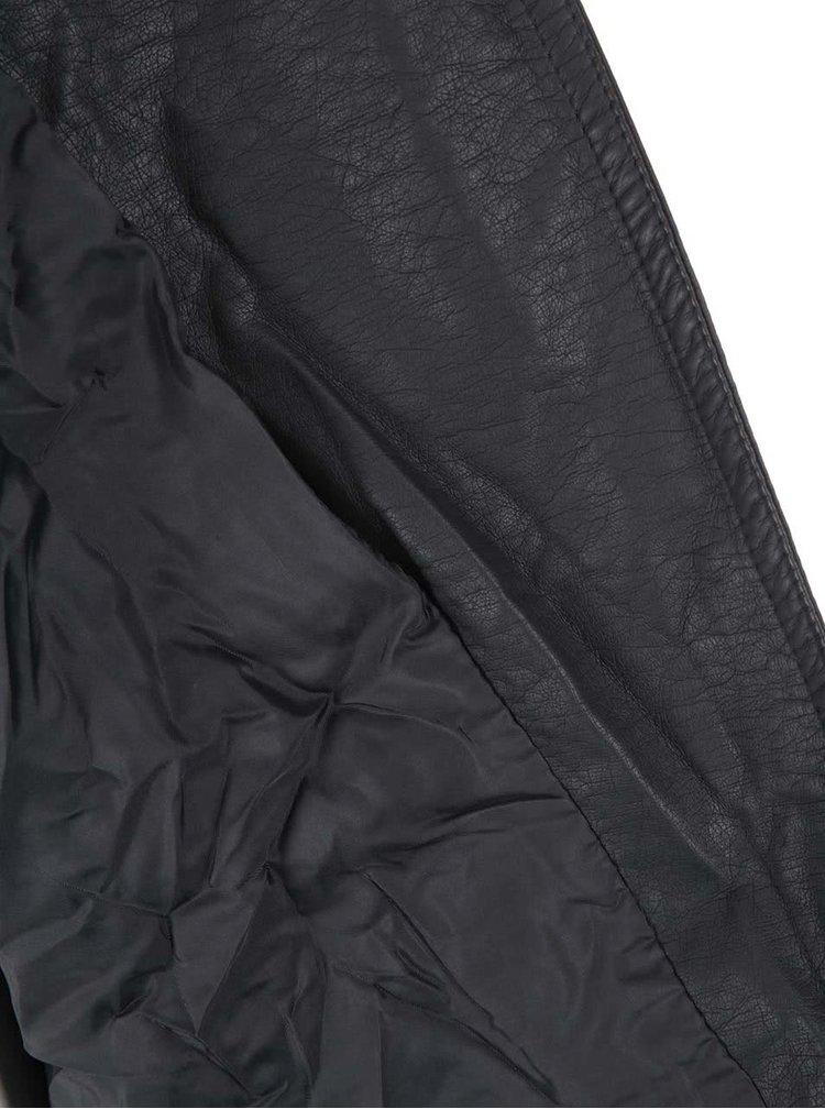 Tmavě šedá koženková bunda ONLY Freya