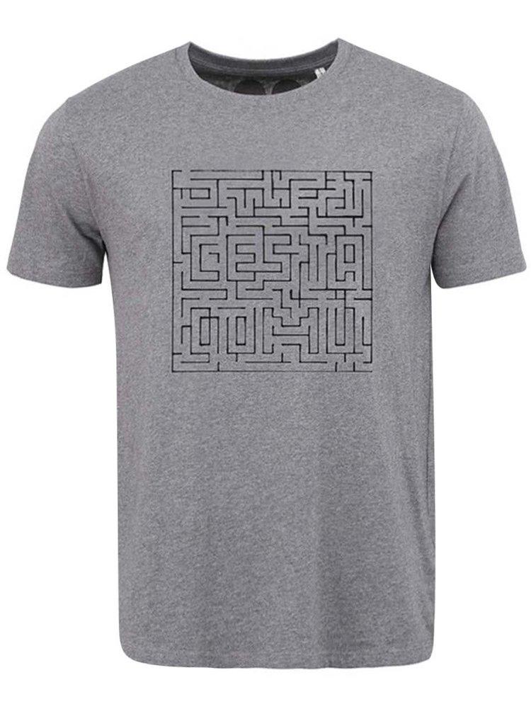 """Dobré"" sivé pánske tričko s bludiskom Cesta domů"