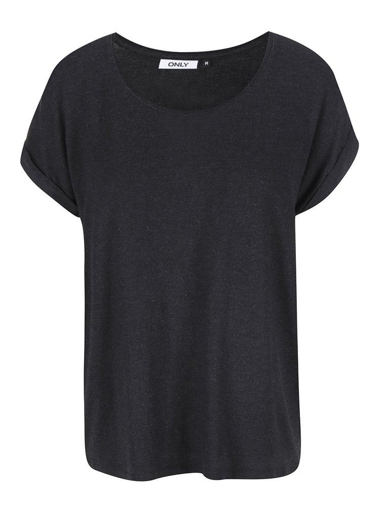 Tmavosivé voľné basic tričko ONLY Moster