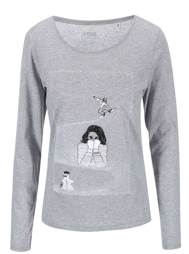 Šedé dámské tričko s dlouhým rukávem ZOOT Originál Sníh