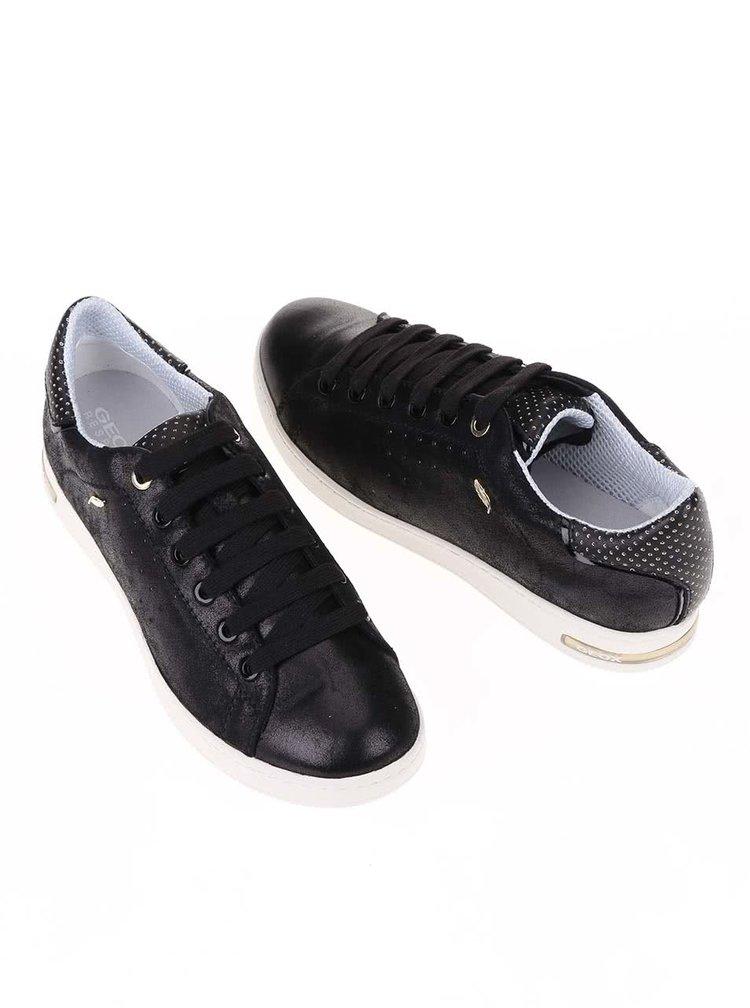 Černé dámské kožené tenisky s bílou podrážkou Geox Jaysen