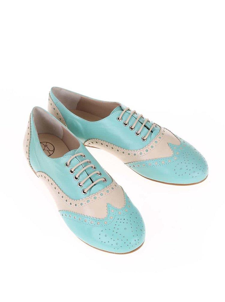 Pantofi brogue din piele crem și verde deschis OJJU