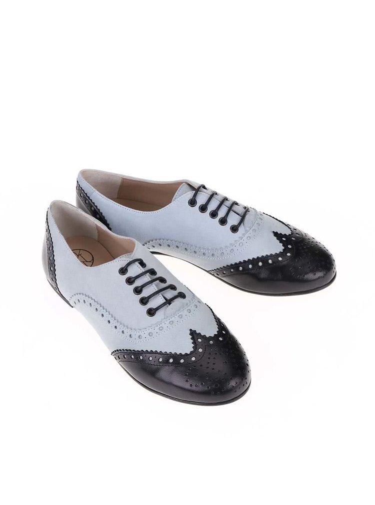 Pantofi brogue din piele negru & albastru OJJU