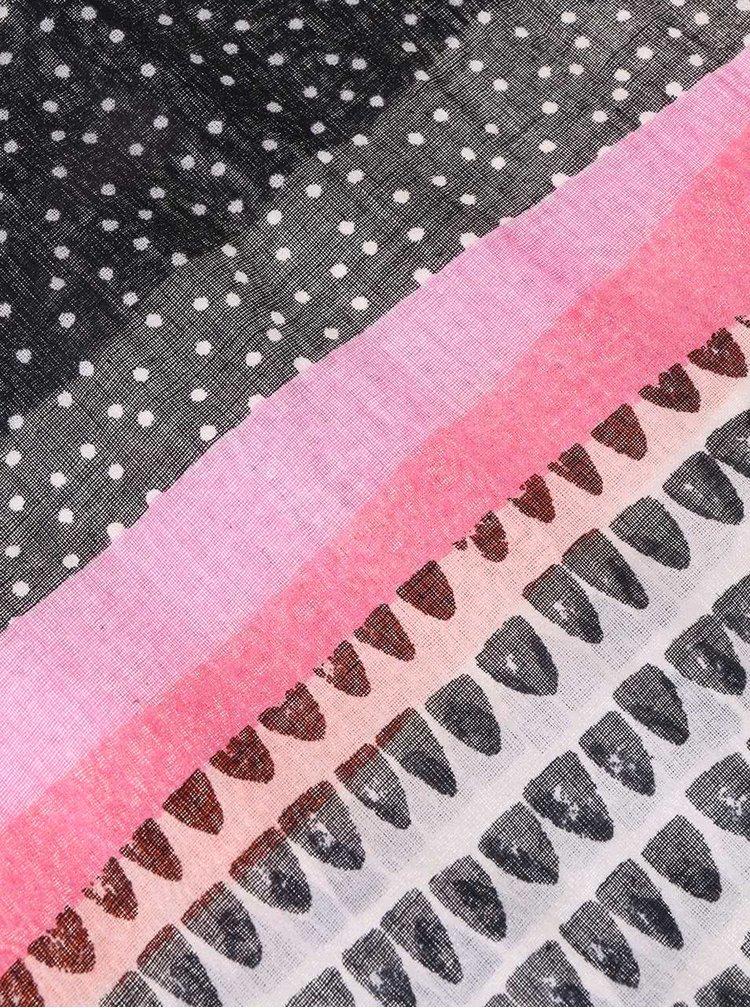 Barevný šátek s růžovým lemováním Disaster Note To Self