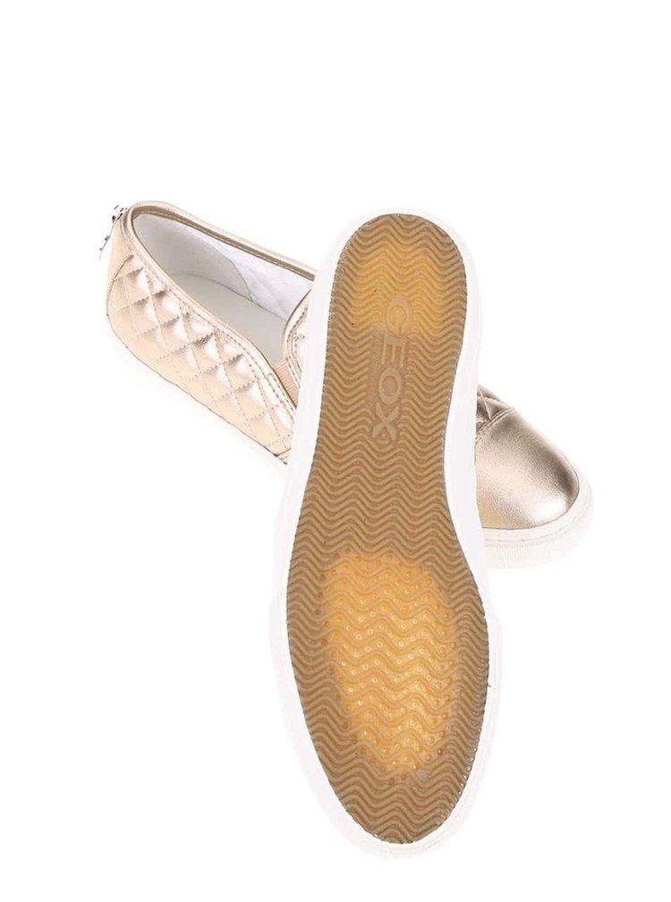 Dámske slip on tenisky v bronzovej farbe Geox New Club