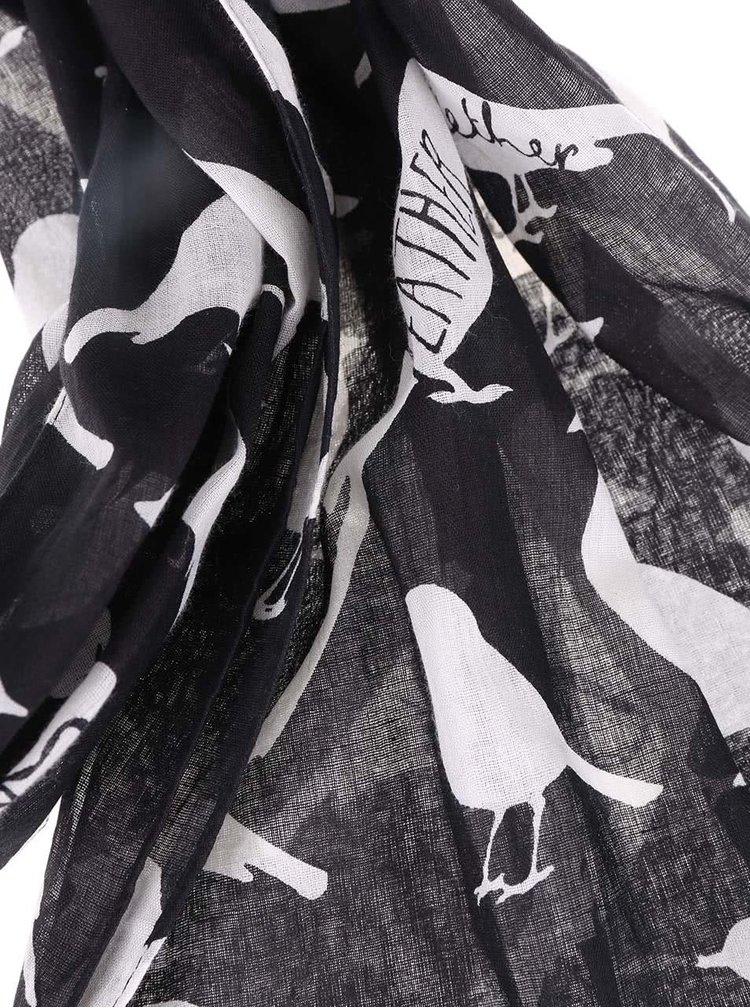 Eșarfă neagră cu imprimeu cu păsări Disaster Penny