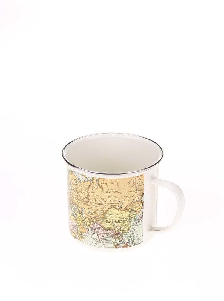 Biely plechový hrnček s potlačou mapy Gift Republic