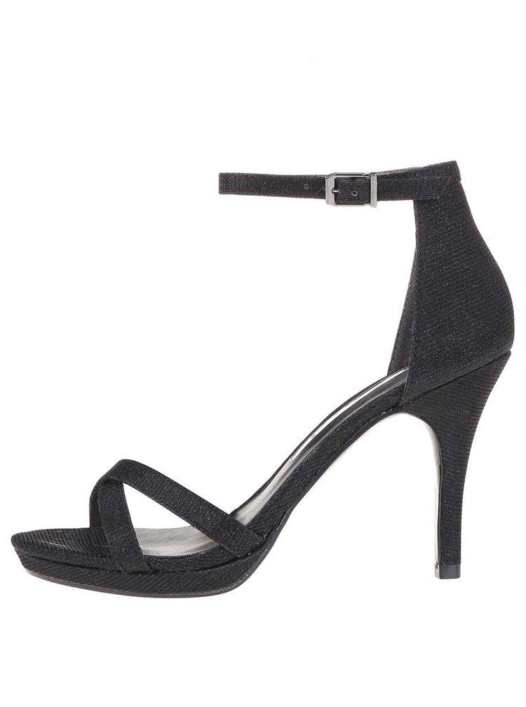 Sandale negre strălucitoare cu toc înalt Tamaris