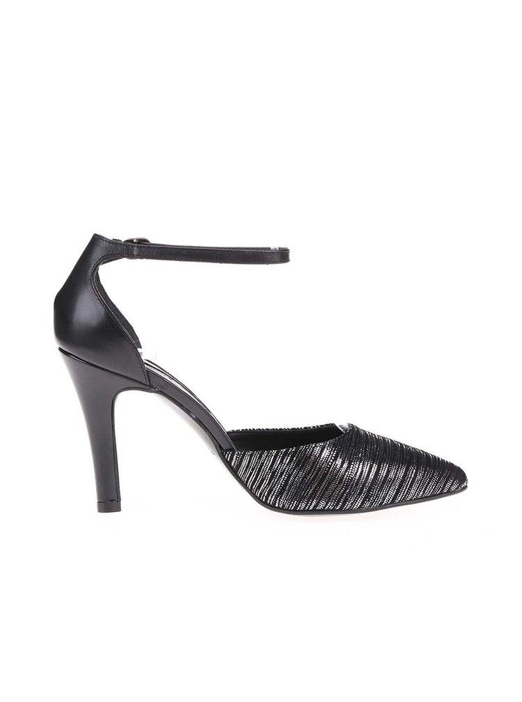Čierne topánky na podpätku s melírovaním v striebornej farbe Tamaris