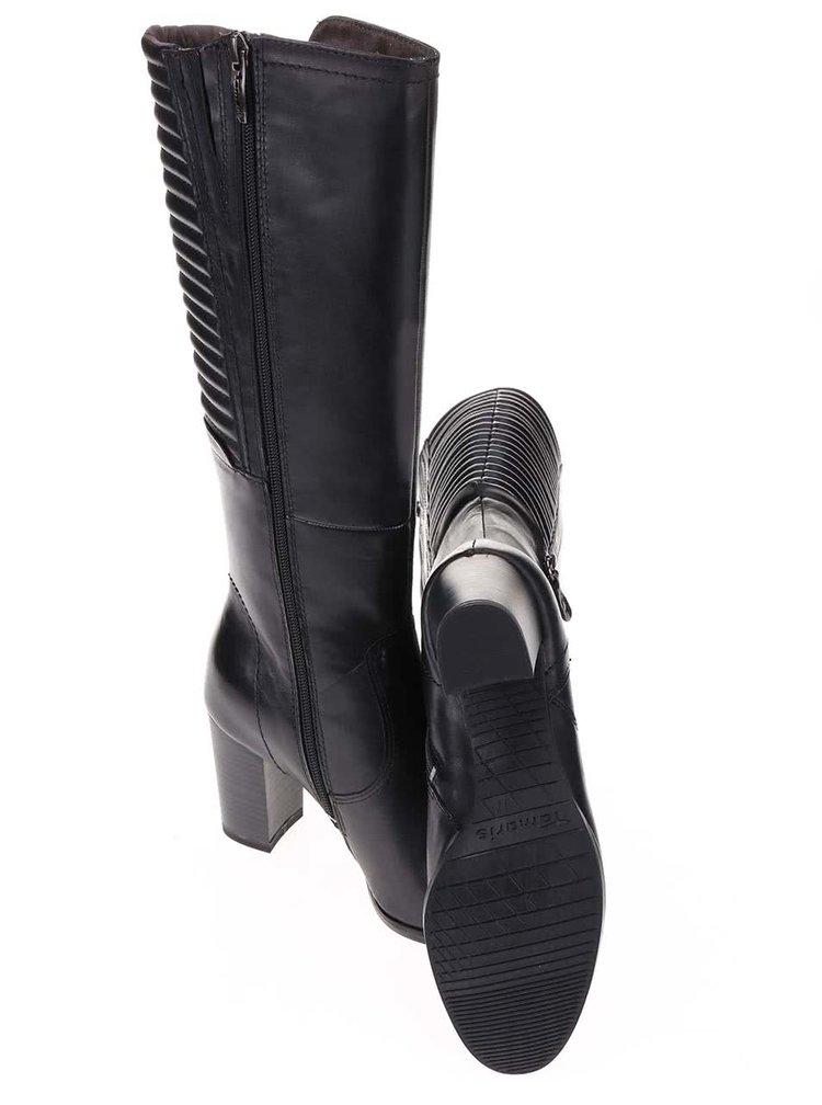 Čierne kožené čižmy na podpätku Tamaris
