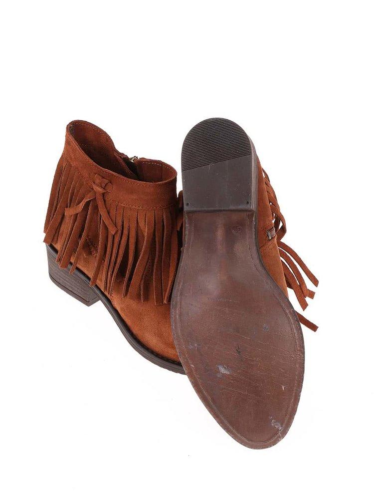 Světle hnědé kožené kotníkové boty s třásněmi Tamaris