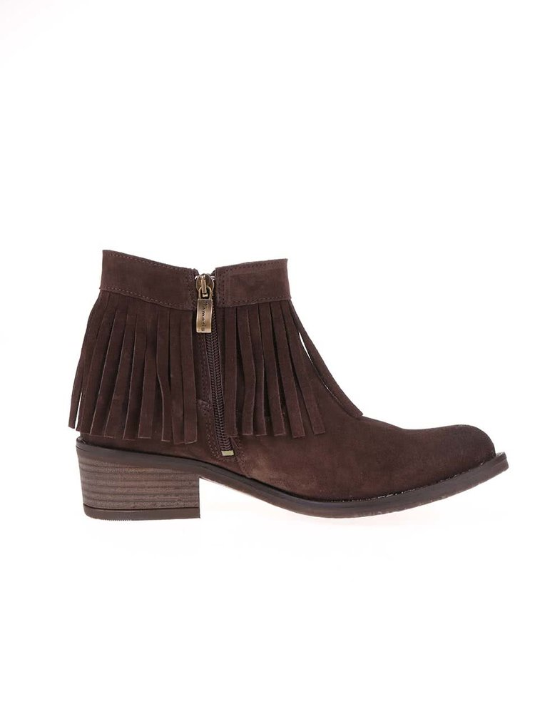 Hnědé kožené kotníkové boty s třásněmi Tamaris