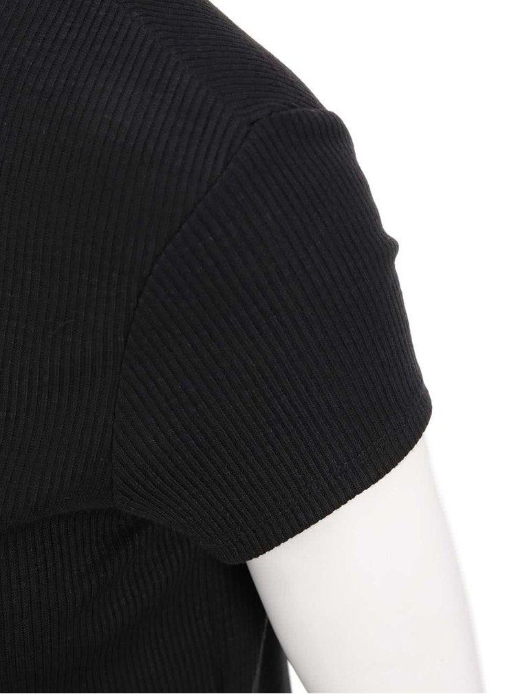 Černé delší žebrované tričko s krátkým rukávem Dorothy Perkins