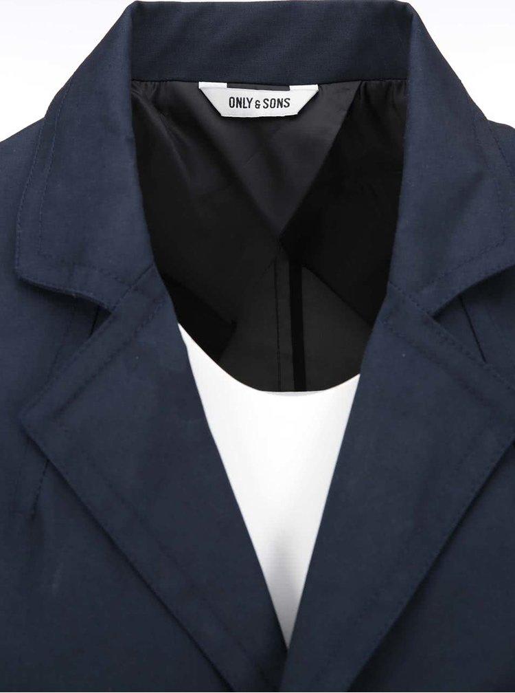 Tmavomodrý dlhší kabát ONLY & SONS Loren