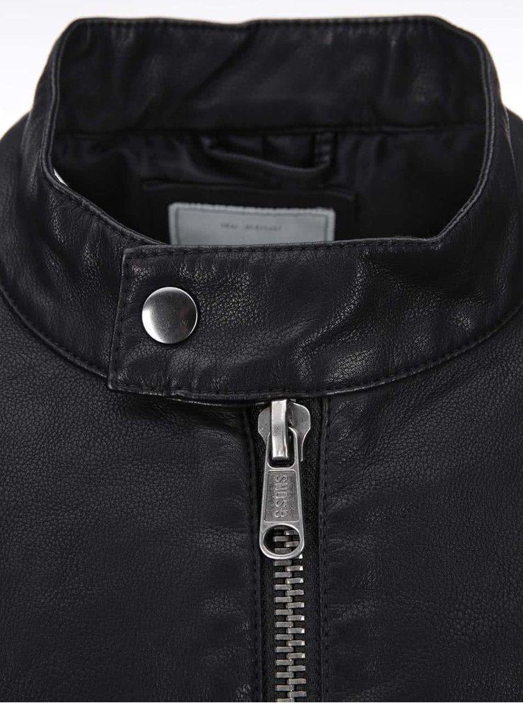 Čierna koženková bunda ONLY & SONS James