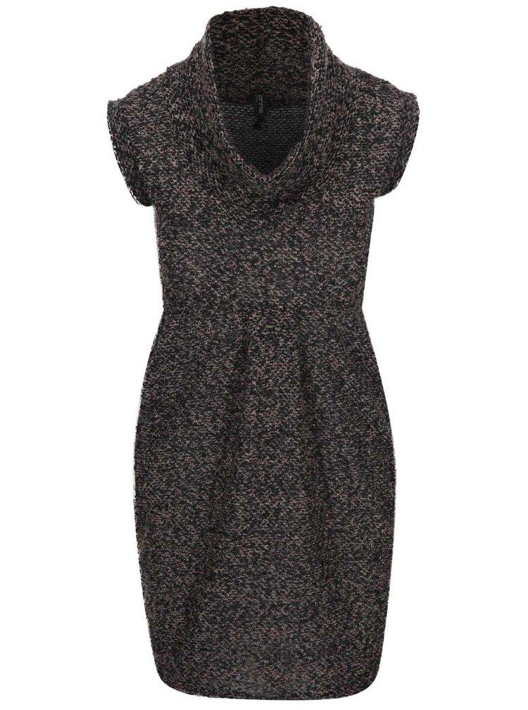 Černo-hnědé svetrové šaty Madonna Ann