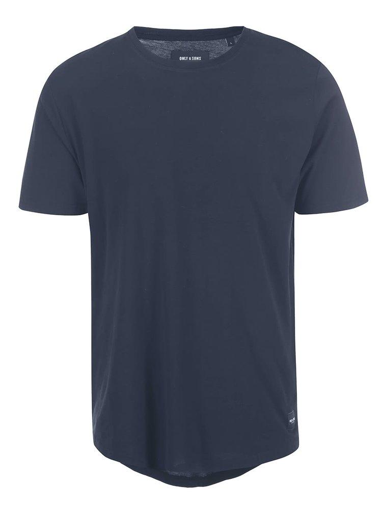Tmavomodré tričko ONLY & SONS Curved