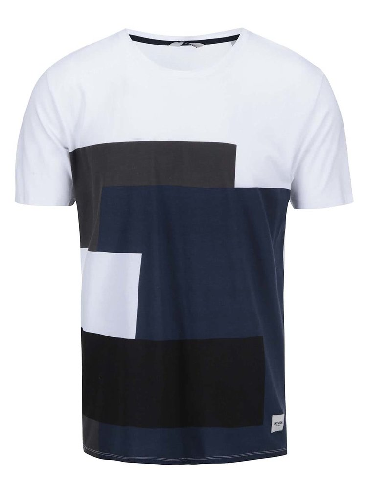 Tricou alb cu motive negre ONLY & SONS Patch