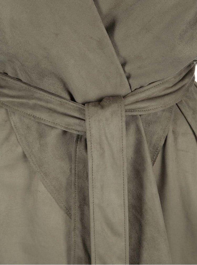 Khaki trenčkot v semišové úpravě VILA Seila
