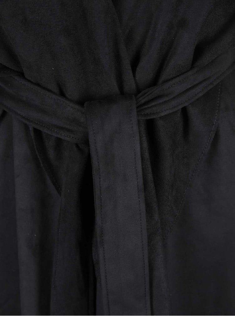 Čierny trenčkot v semišovej úprave VILA Seila