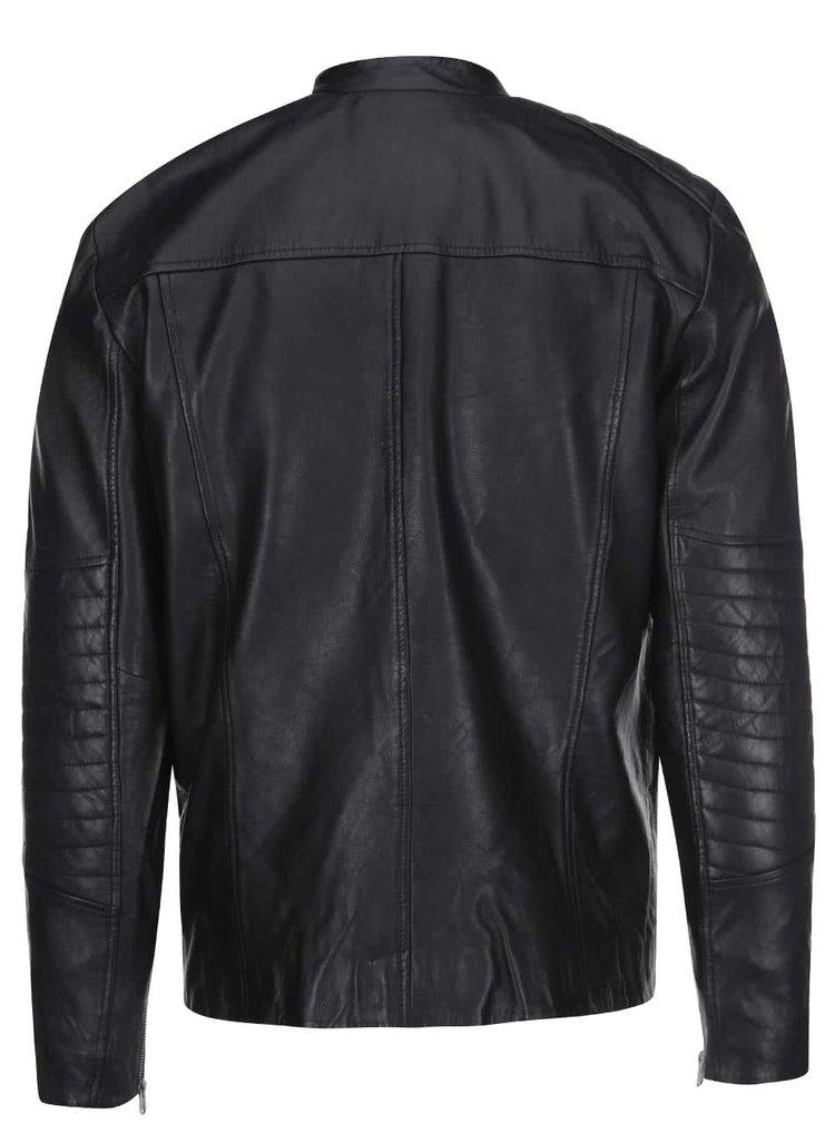 Jachetă neagră din piele Jack & Jones Leather 6