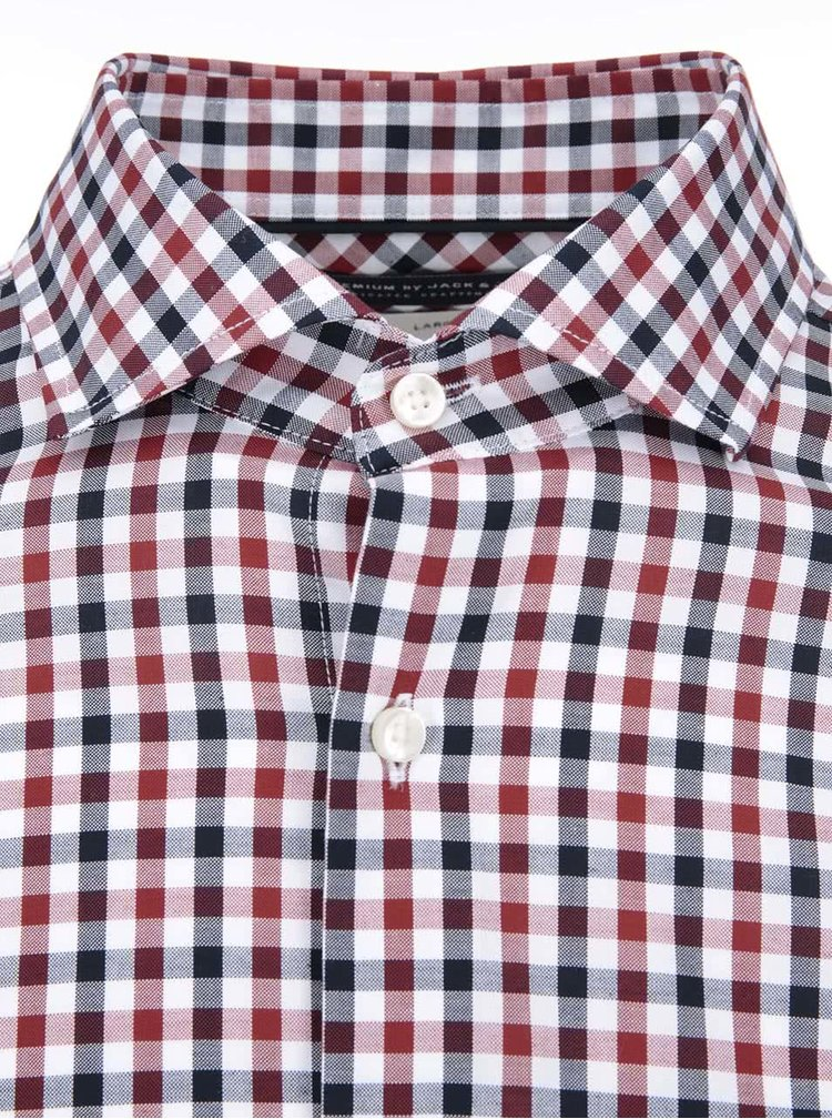 Červeno-modrá kostkovaná košile Jack & Jones Oscar